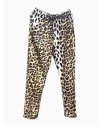 Choies Leopard Loose Pant With Waist Drawstring