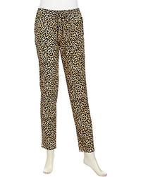 Rebecca Taylor Leopard Print Track Pants Neutral