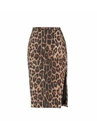 Faun leopard print cotton pencil skirt medium 445614