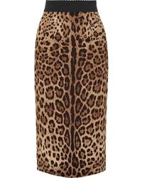 Dolce & Gabbana Leopard Print Crepe Midi Skirt