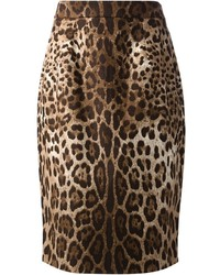 Dolce & Gabbana Leopard Print Pencil Skirt