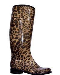 Brown Leopard Rain Boots