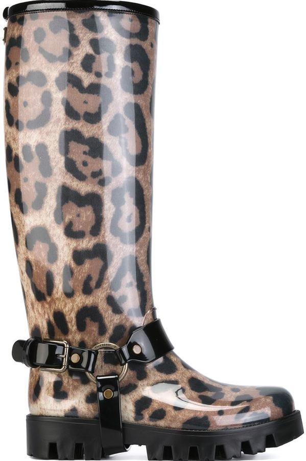 0af7841f1b3a Dolce & Gabbana Leopard Print Rain Boots, $296 | farfetch.com ...