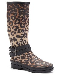 Forever Young Brown Leopard Tall Rain Boots