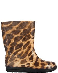 dav Girls Fun Leopard Black Rubber Boots
