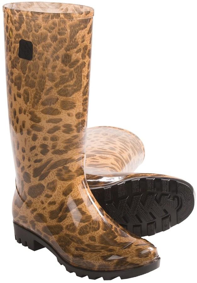 dav Jelly Lug Leopard Print Rain Boots