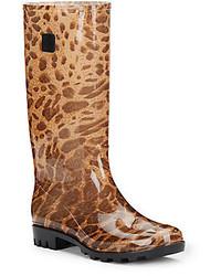 Tall Leopard Print Jelly Rain Boots