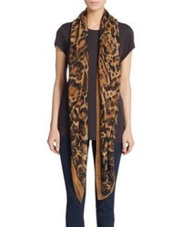 Alexander McQueen Silk Leopard Print Scarf