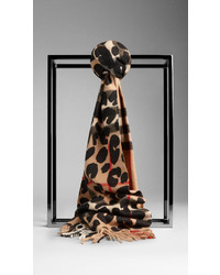 Burberry Animal Print Check Cashmere Scarf
