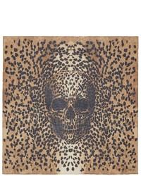 Alexander McQueen Big Skull Leopard Silk Scarf