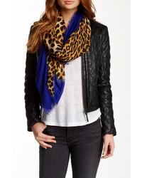 Blue Pacific Cashmere Blend Leopard Print Scarf