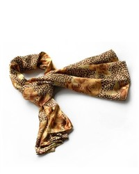 Brando Gold Leopard Rose Floral Pattern Stylish Super Soft Silk Scarfwrapshawl