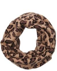 Wyatt Brown Leopard Print Rib Knit Minerva Infinity Scarf