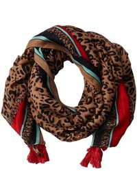 San Diego Hat Company Bss1507os Leopard Print Scarf W Pol Color Border And Tassels