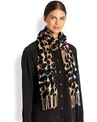 Burberry Cashmere Leopard Print Check Scarf