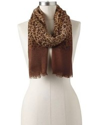Chaps Leopard Ombre Fringed Scarf