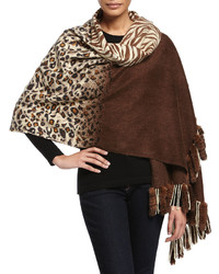 Neiman Marcus Cheetahzebra Reversible Wrap With Fur Tails Brown