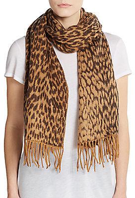 Ivanka Trump Leopard Print Jacquard Scarf