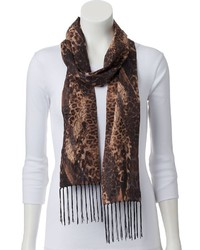 JLO by Jennifer Lopez Jennifer Lopez Leopard Fringed Oblong Scarf