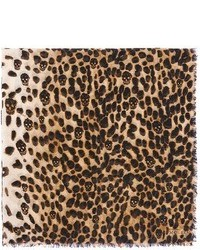 Nobrand Leopard And Skull Print Cashmere Silk Scarf