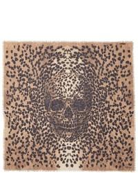 Alexander McQueen Leopard Big Skull Cashmere Silk Scarf