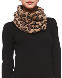 Portolano Leopard Patterned Funnel Scarf