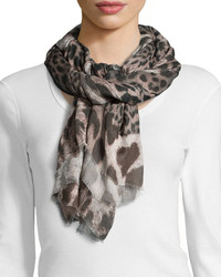 Neiman Marcus Leopard Print Fringe Scarf Browngray