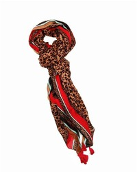 San Diego Hat Company Leopard Print Scarf With Pop Color Border And Tassles