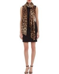 Dolce & Gabbana Leopard Print Silk Scarf