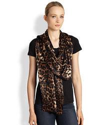 Ilana Wolf Leopard Print Silk Stole