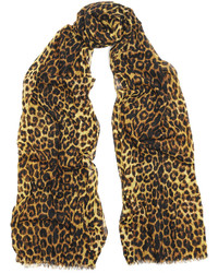 Saint Laurent Leopard Print Wool Scarf