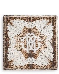 Roberto Cavalli Leopard Print Silk Scarf