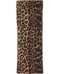 Saint Laurent Satin Leopard Puffer Scarf