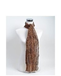 Selini Dark Brown Leopard Pattern Sheer Polyester Scarf Ls4060