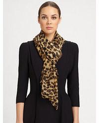 Alexander McQueen Silk Leopard Scarf