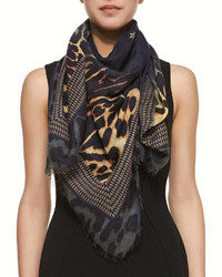 Givenchy Square Silk Wool Shaded Leopard Logo Scarf