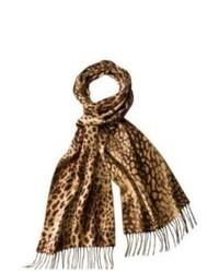Target Merona Brown Tan Leopard Print Scarf With Fringe