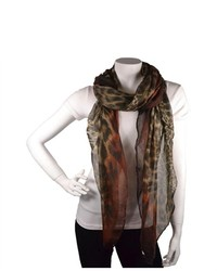 TheDapperTie Brown 100% Viscose Scarf With Leopard Prints Scarf 51