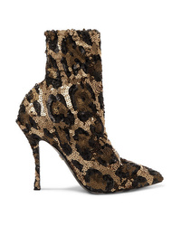 Dolce & Gabbana Sequined Stretch Knit Sock Boots