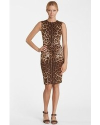 Brown Leopard Sheath Dress