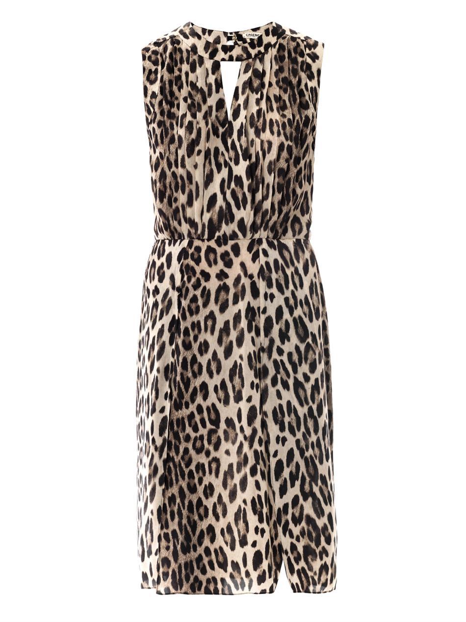 a0627b5a0d ... L Agence Leopard Print Sleeveless Satin Dress