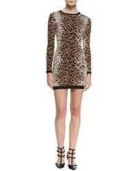 RED Valentino Long Sleeve Heart Leopard Print Sweaterdress Toffeeblack