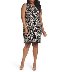 Plus size michl michl kors leopard print sheath dress medium 5034854