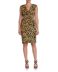 Side drape leopard print surplice dress medium 77901