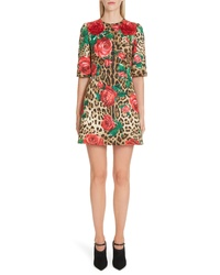 Dolce & Gabbana Embellished Rose Leopard Print Brocade Dress
