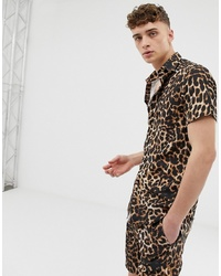 Brown Leopard Short Sleeve Shirt