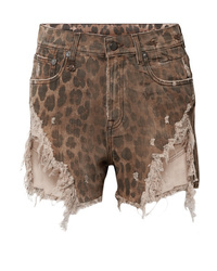 R13 Distressed Leopard Print Denim Shorts