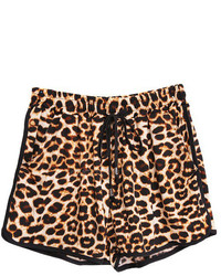 Drawstring Leopard Beach Shorts