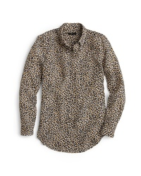 J.Crew Leopard Print Silk Shirt