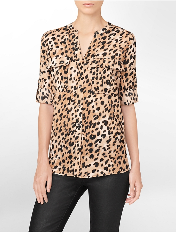 Animal Print Blouse With Black Collar 77